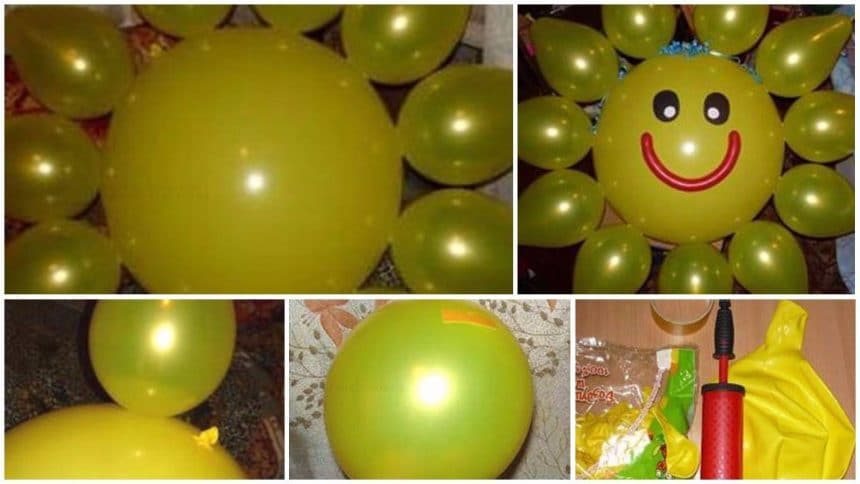 sun from balloons for a birthday party