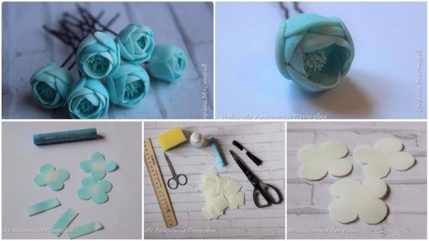 How to make flower pin for the festive hairdresser of the princess