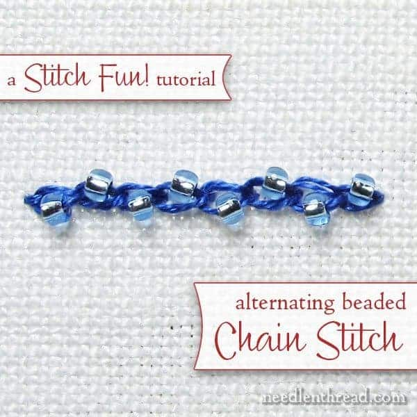 alternating beaded chain stitch