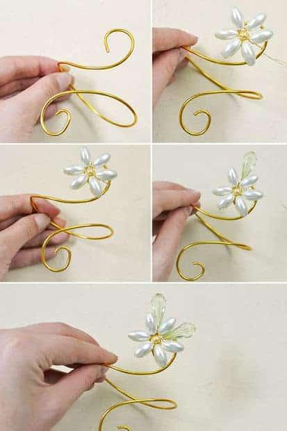 wire wrap pearl flower bracelet