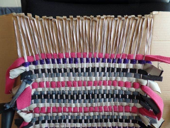 weaving on cardboard