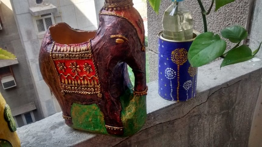 big planter from waste bottle
