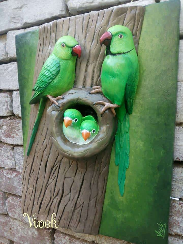 parrot family from clay art