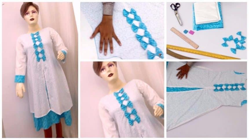 Beautiful umbrella cut kurti cutting and stitching