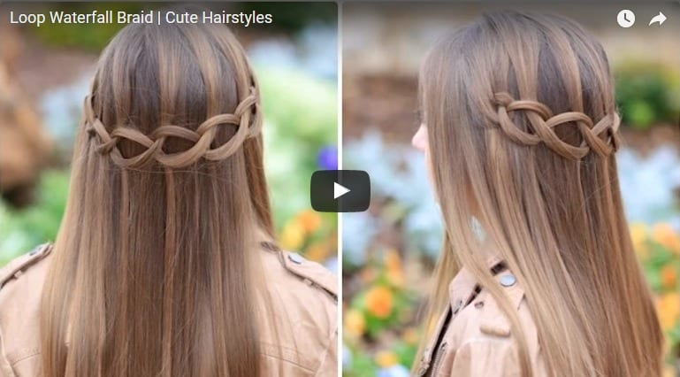 Loop waterfall braid hairstyle