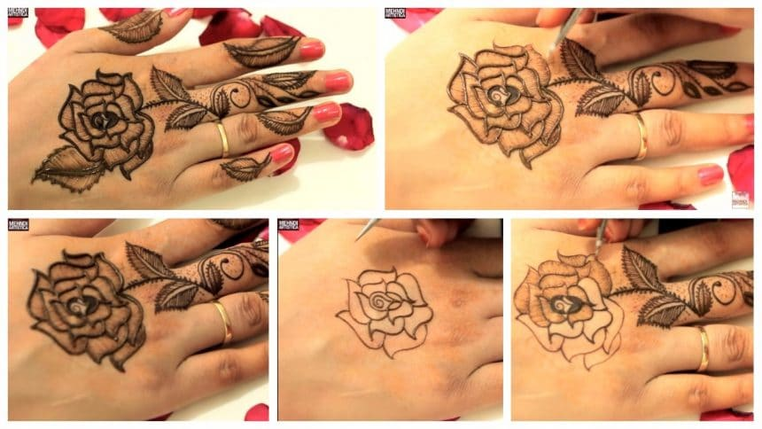 Original leafy roses mehndi designs for upper side