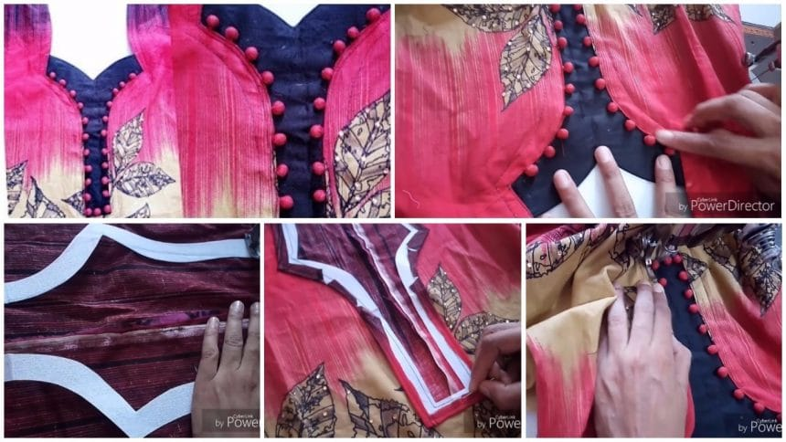 Designer neckline with potli buttons