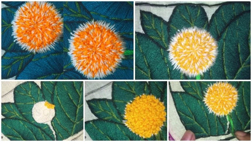 Easy kodom flower hand embroidery