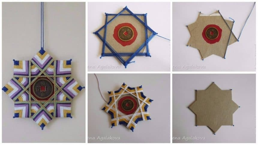 How to weaving of mandala on a cardboard basis
