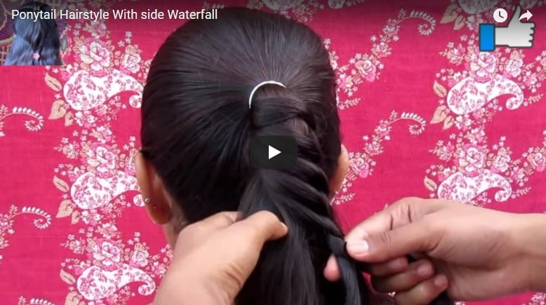 Ponytail hairstyle with side waterfall