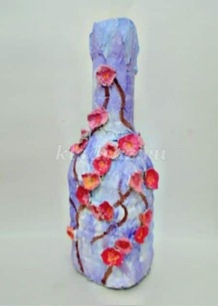 Vase from a plastic bottle