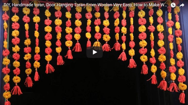 How to make door hanging toran from woolen