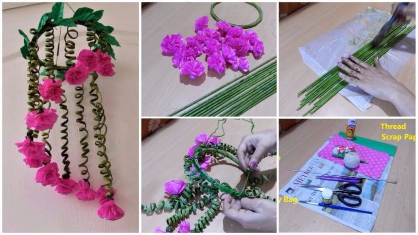 How to make wind chime from newspaper and polythene bag