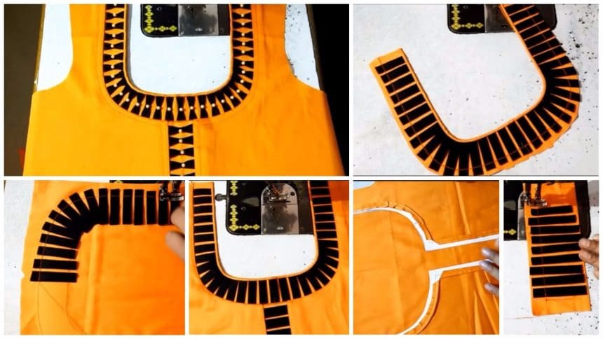 Latest front neck design kurti cutting and stitching