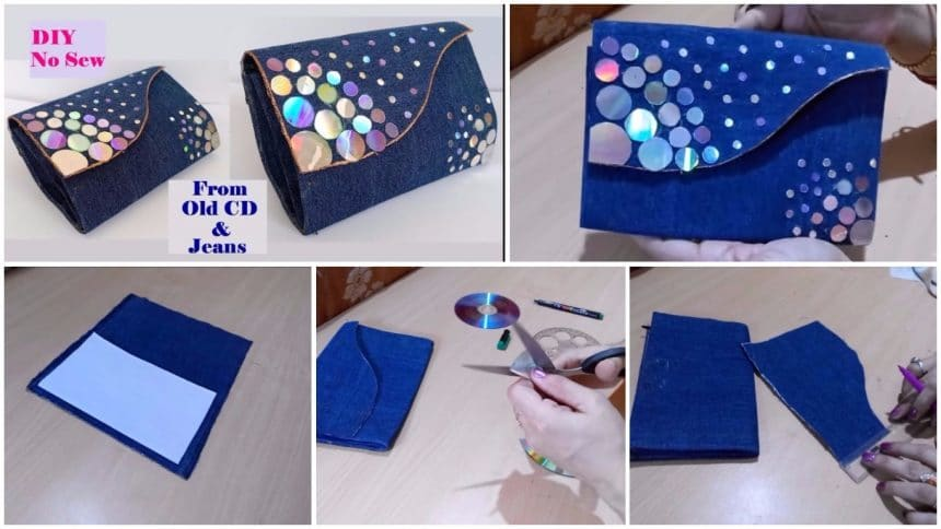 How to make clutch purse with CD and old jeans