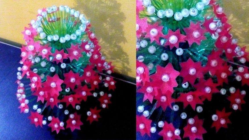 flower vase from water bottle