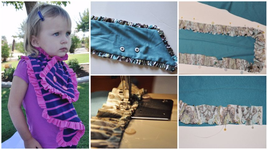 How to sew a button ruffle scarf