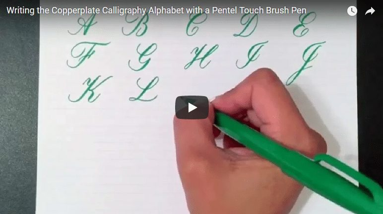 Writing the copperplate calligraphy alphabet