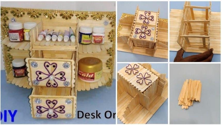 Desk Organizer From Ice Cream Stick Simple Craft Ideas