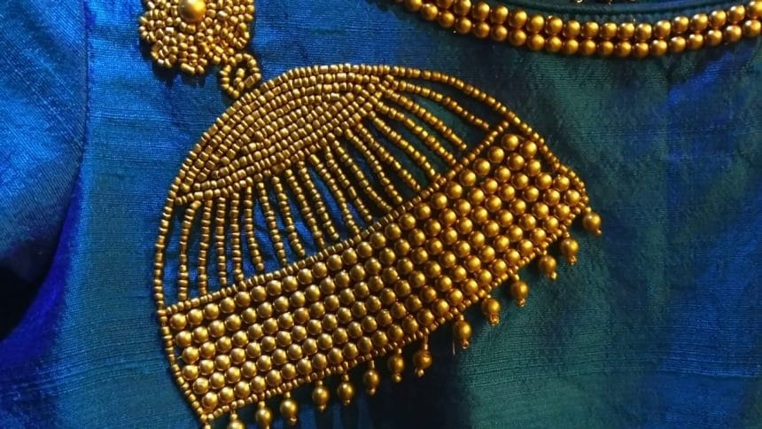 Jhumka Design Using Beads Embroidery For Kurtas Simple