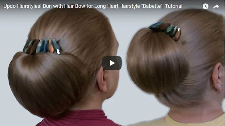 Bun with hair bow for long Hairstyles