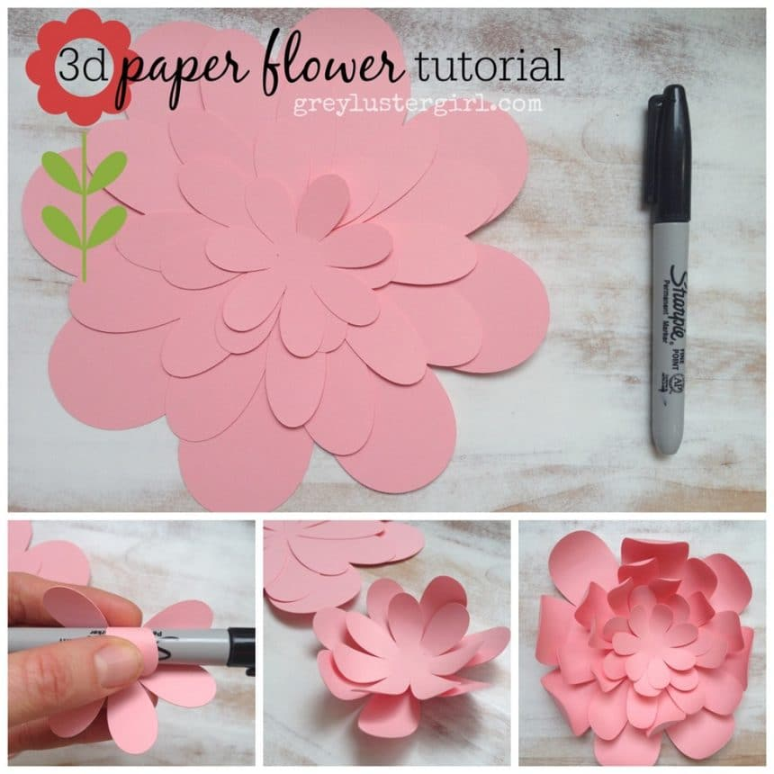 Paper Flower Wall Template: Simple Craft Idea