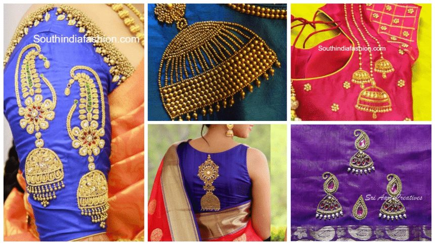 Jhumka design using beads embroidery for kurtas