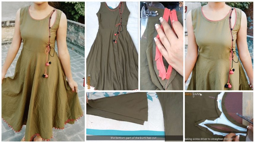 Trending kurti making with designer neck
