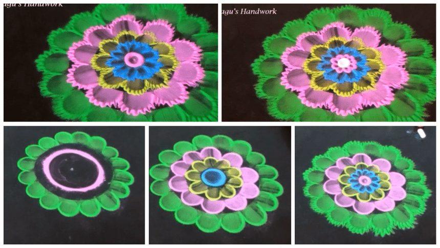 Free hand flower rangoli making