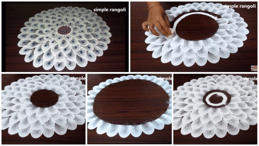 How to make beautiful flower rangoli in 2 minutes