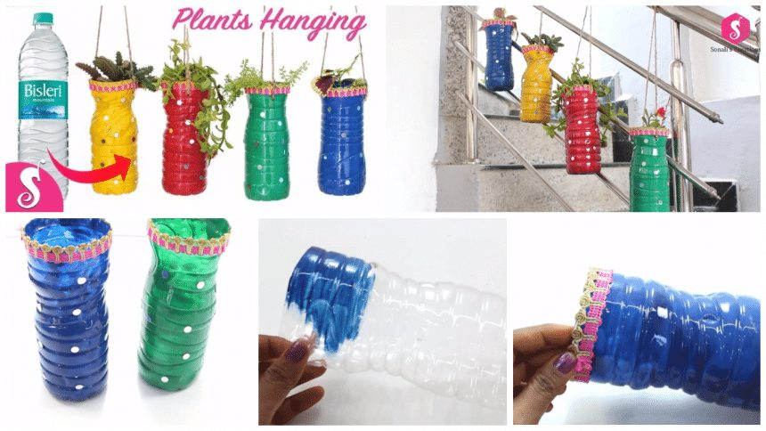 How to plants hanging form waste plastic bottle