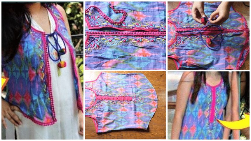 How to convert old kurti into short jacket