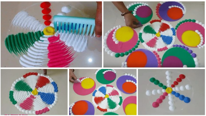Very beautiful and colourful rangoli design using comb