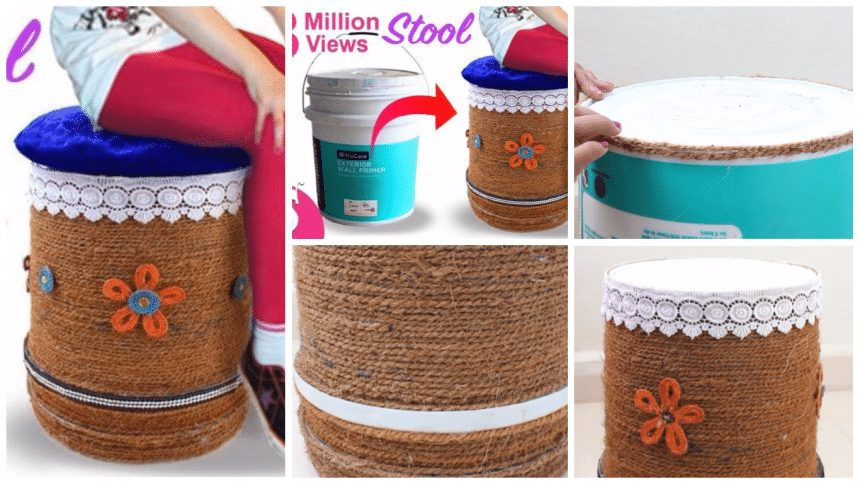 Make sitting stool from reusing waste paint bucket