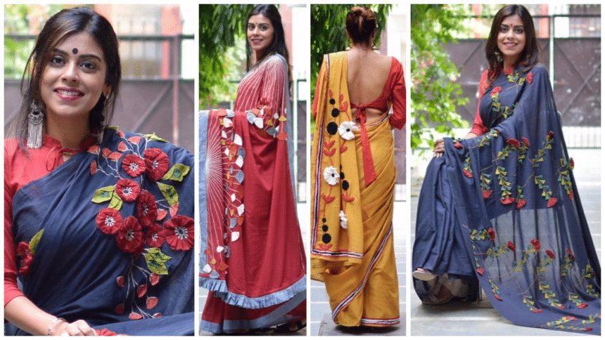 Different types of patchwork saree