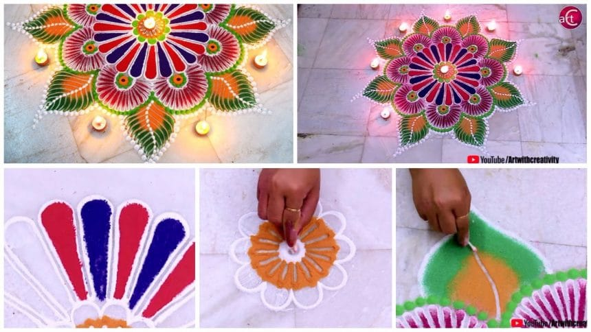Easy unique rangoli using simple tools