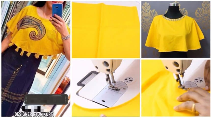 How to circular poncho cutting and stitching