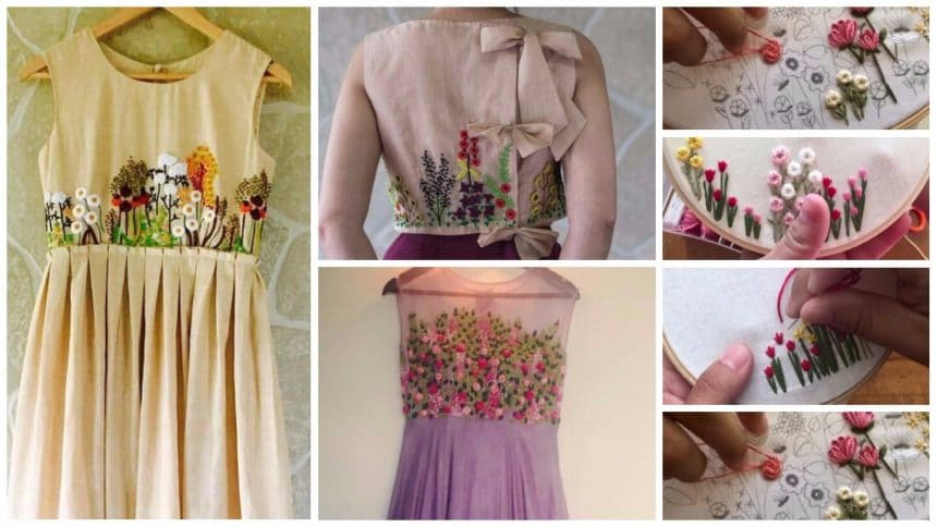 Different types of flower embroidered kurtis designs and stiches