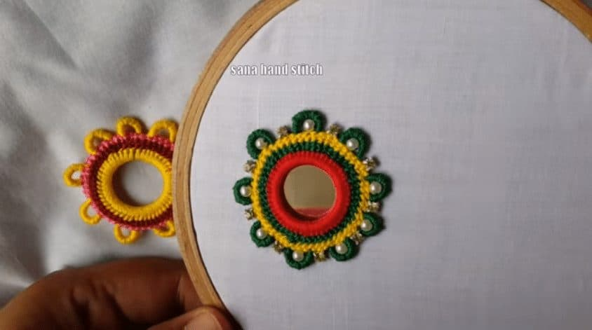 hand embroidery mirror work with multi design