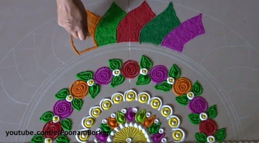Diwali Special Multicoloured Semi Circle Rangoli Design Simple Craft Ideas
