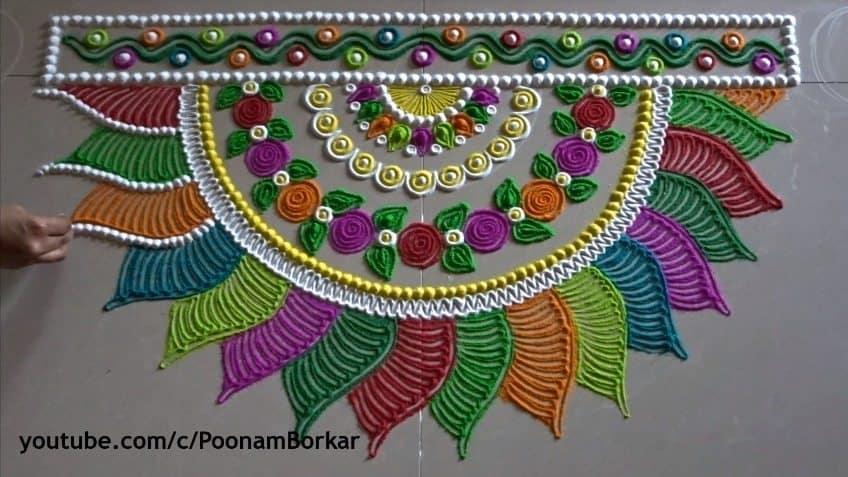 diwali special multicoloured semicircle rangoli design