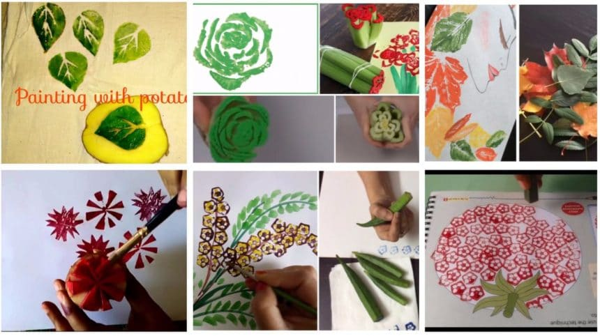 fabric painting with vegetables