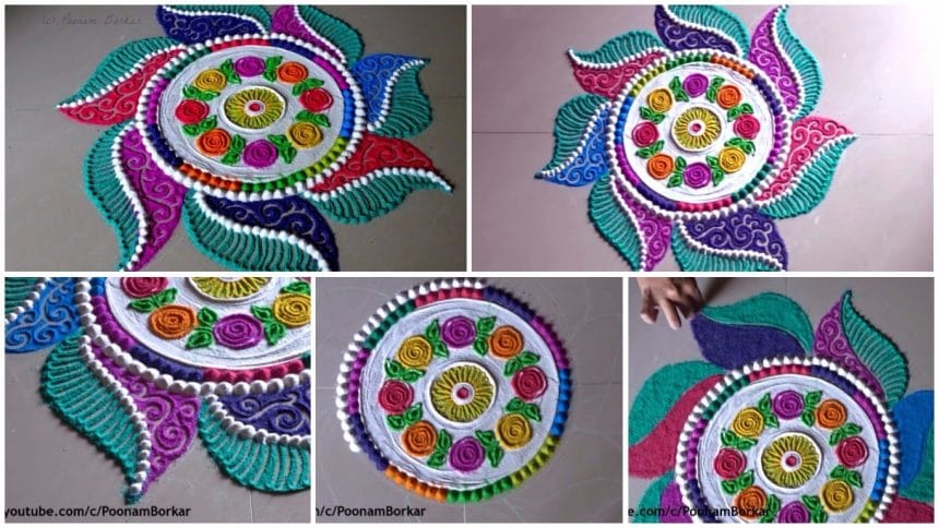 Beautiful and innovative multicoloured rangoli for diwali