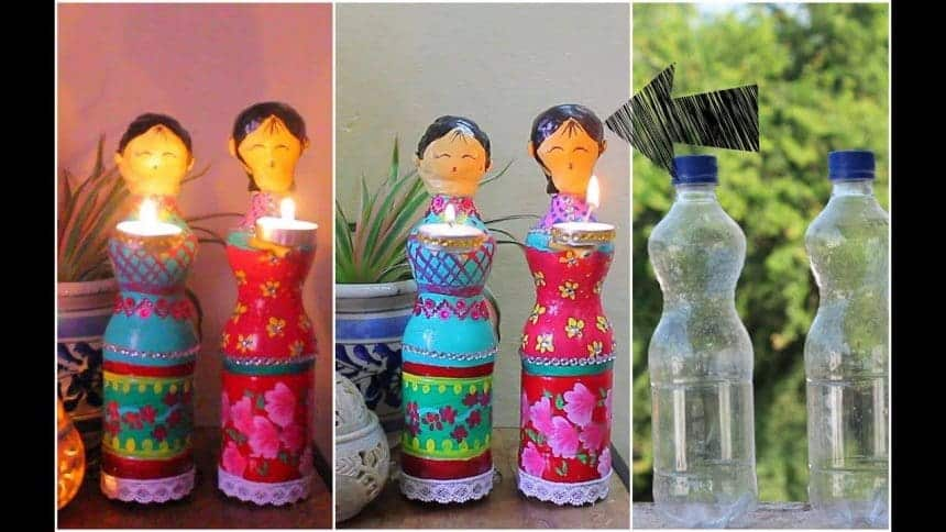 How To Make Doll Diya Using Plastic Bottles Simple Craft