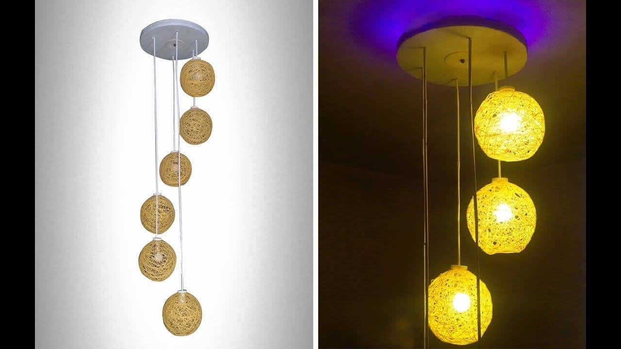 homemade wrapped balloon lamp