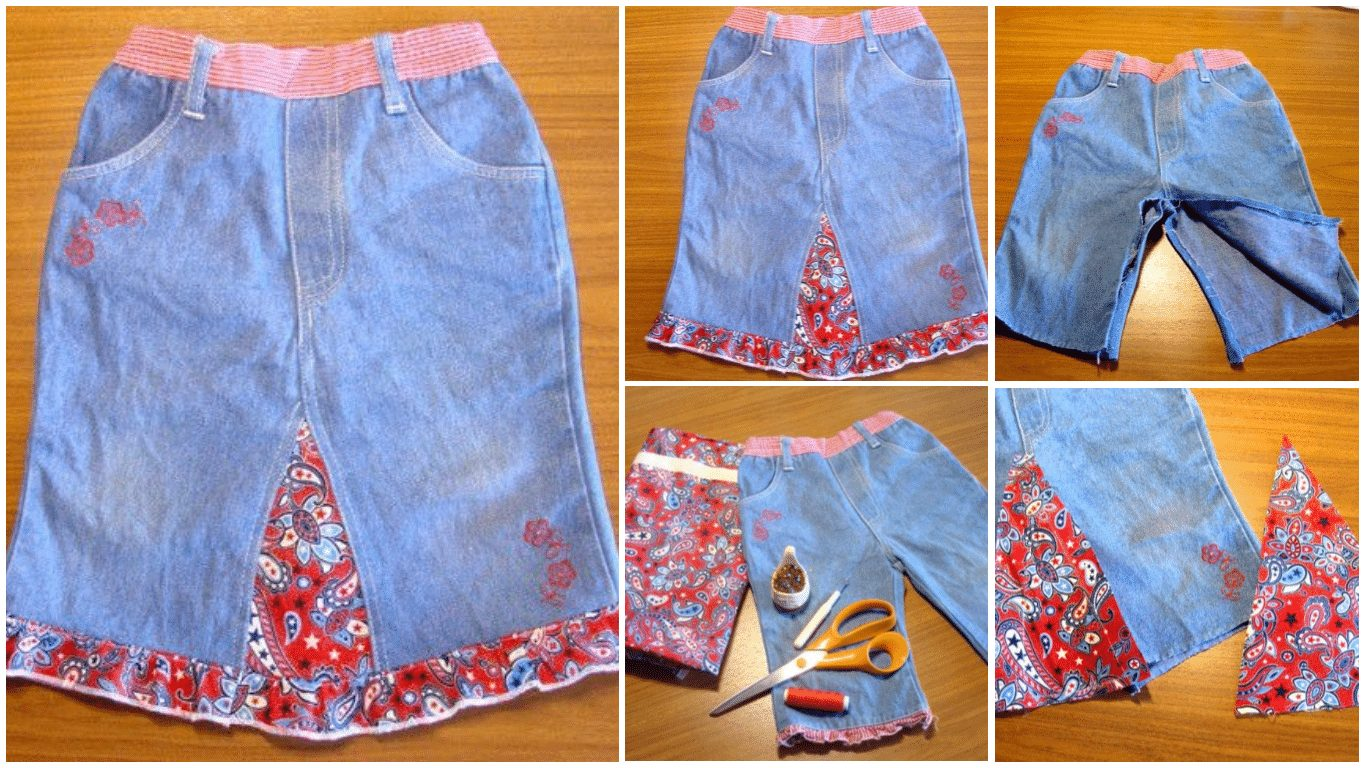 How to make a new skirt out of old jeans