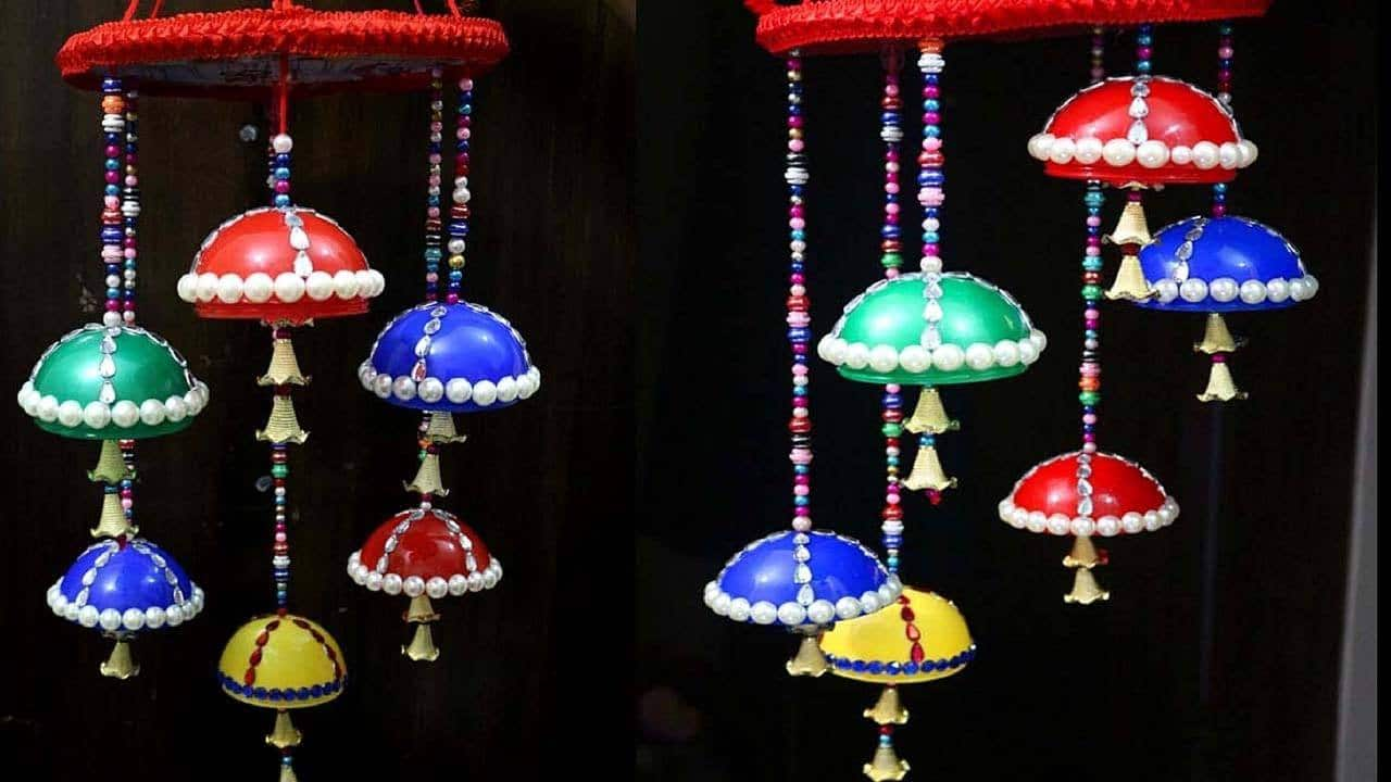 How To Make Wind Chime From Plastic Balls Simple Craft Ideas