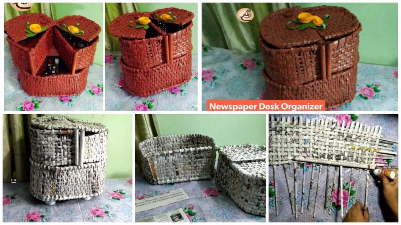 How to make cosmetic organiser from newspaper