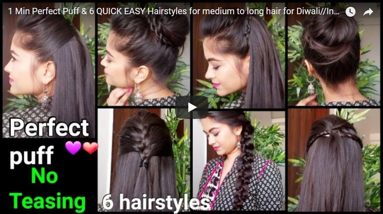 1 Min perfect puff hairstyles for medium to long hair