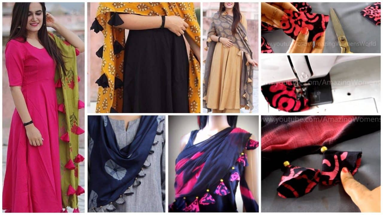 How to design dupatta edging with beaded tassels